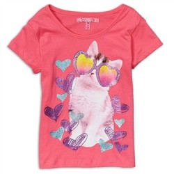 Cherrystix Pink Cool Cat Glitter Print Girls Shirt Space City Kids Clothing Store