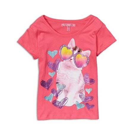 Cherrystix Pink Cool Cat Glitter Print T Shirt