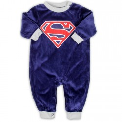 DC Comics Superman Blue Velour Infant Sleeper