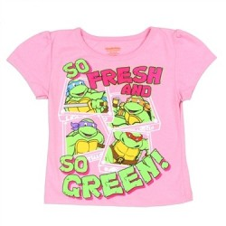 Nick Jr Ninja Turtles Girls Pink So Fresh And So Green Graphic T Shirt