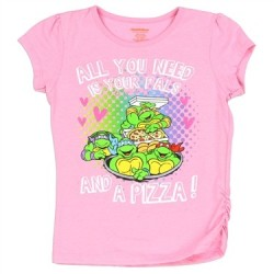 Teenage Mutant Ninja Turtles Pizza And Pals Pink Girls Graphic T Shirt