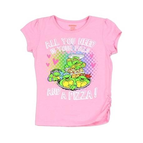Teenage Mutant Ninja Turtles Pizza And Pals Pink Girls Graphic T Shirt