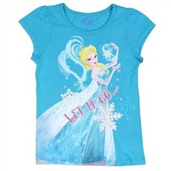 Disney Frozen Let It Go Turquoise Short Sleeve Girls Shirt Space City Kids Clotihng Store