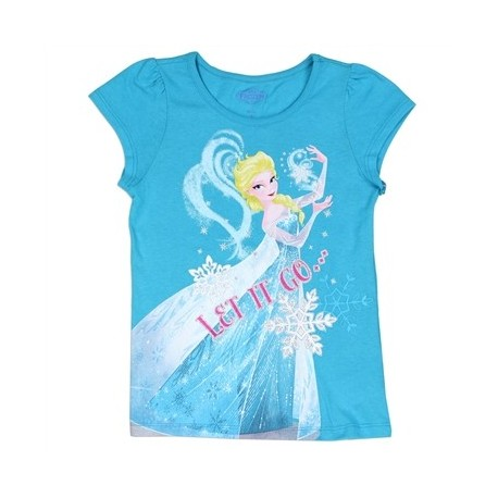 Disney Frozen Let It Go Turquoise Short Sleeve T Shirt