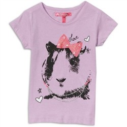 Cherrystix Lavender Guinea Pig With Bow Glitter Print Girls Shirt Space City Kids Clothing Store
