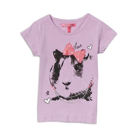 Cherrystix Lavender Guinea Pig With Bow Glitter Print T Shirt