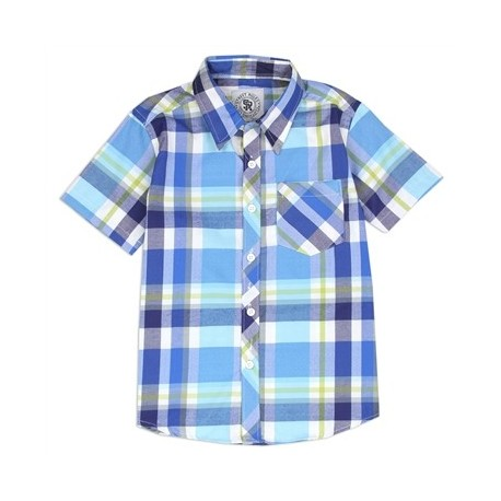 Street Rules Blue Woven Button down Plaid Shirt