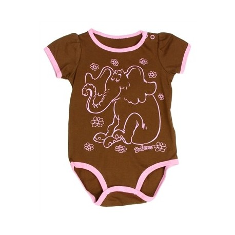Dr Seuss Horton Hears A Who Brown Infant Creeper With Pink Trim