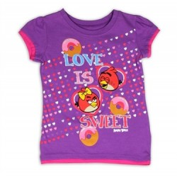 Angry Birds Love Is Sweet Purple Short Sleeve T Shirt