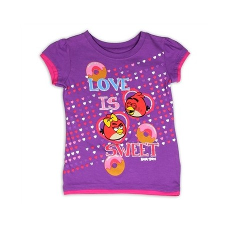 Angry Birds Love Is Sweet Purple Girls Short Sleeve Shirt