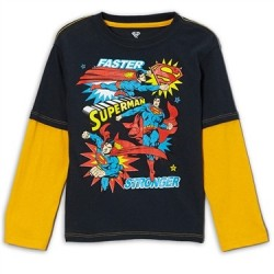 DC Comics Superman Faster Stronger Long Sleeve Shirt