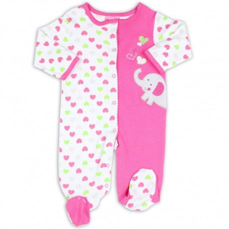 Carter's Watch The Wear Pink And White Infant Footed Sleeper