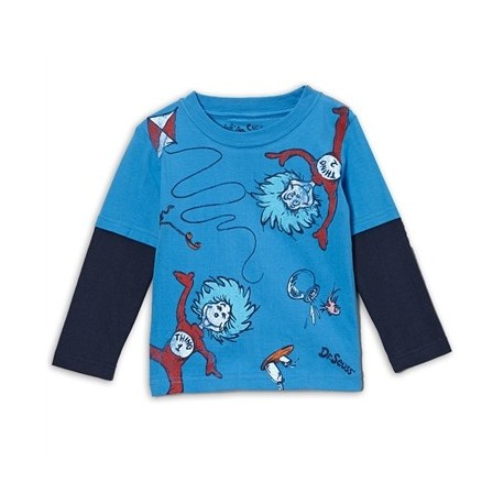Dr Seuss Thing 1 And Thing 2 Blue Long Sleeve Shirt