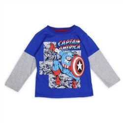 Marvel Comics Captain America Blue and Grey Long Sleeve Shirt
