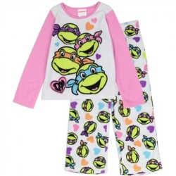 Teenage Mutant Ninja Turtles Girls Pink And White Pajamas