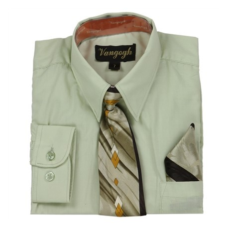 Vangogh Formal Long sleeve Shirt With Tie And Handkerchief
