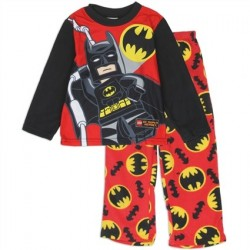 Licensed Lego Batman Boys Red 2 Piece Flame Resistant Fleece Pajama Set