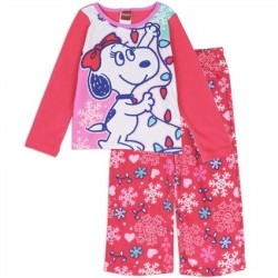 Officially Licensed Peanuts Bell Snoopy's Girlfriend 2 Piece Fleece Pajama Space City Kids Clothing Store Set