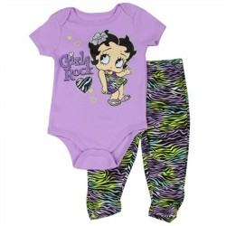 Betty Boop Baby Boop Girls Rock Onesie And Colorful Animal Print Scrunch Legging