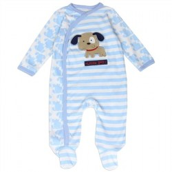Buster Brown Blue And White Striped Brown Puppy Footed Coverall