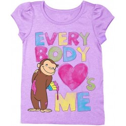 Curious George Lilac Short sleeve Graphic T Shirt