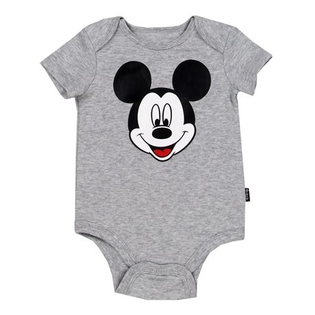 Disney Mickey Mouse Grey Infant Onesie With Mickey On The Front