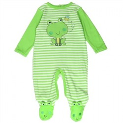 Buster Brown Infant Green Striped Frog Footed Sleeper Space City Kids Clothing Store