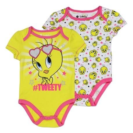 Looney Tunes Yellow Tweety Bird 2 Piece Baby Onesie Set