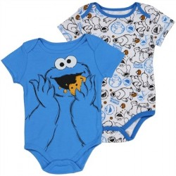 Sesame Street Cookie Monster Blue and White Baby Onesies 2 Piece Set 06C6095SS