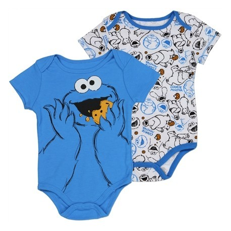 Sesame Street Cookie Monster Blue and White Baby Onesies 2 Piece Set Space City Kids Clothing