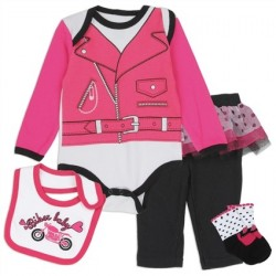 Nuby Pink Biker Lady Infant 4 Pc Layette Set