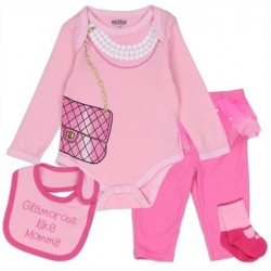 Nuby Glamorous Like Mommy Pink 4 Piece Layette Set