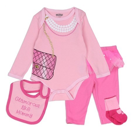 Glamorous Like Mommy Pink 4 Piece Layette Set From Nuby YL04279