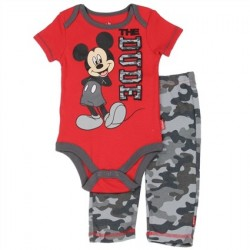 Red The Dude Disney Mickey Mouse Onesie and Grey Camo Pants