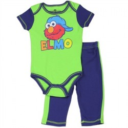 Sesame Street Elmo Green Onesie and Blue Pants Set