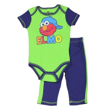 Sesame Street Elmo Green Onesie and Blue Pants Set Space City Kids Clothing Store