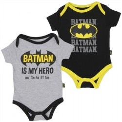 DC Comics Batman Is My Hero Grey and Black 2 Pc Onesie Set