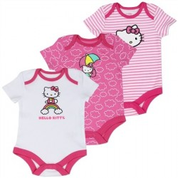 Hello Kitty Pink and White 3 Piece Onesie Set