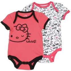 Hello Kitty Love White Onesie and Coral Onesie With Hello Kitty