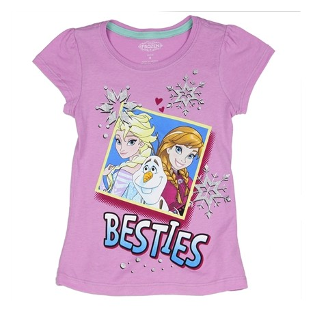 Disney Frozen Lavender Besties Graphic T Shirt With Anna Elsa and Olaf