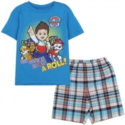 Nick Jr Paw Patrol Is On A Roll Blue T Shirt With Blue Woven Plaid Shorts