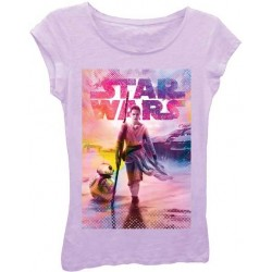 Disney Star Wars The Force Awakens Rey and BB8 Lilac Cap Sleeve T Shirt