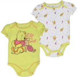 Winnnie The Pooh And Piglet Life Is Sweet Yellow Onesie And White Onesie Set