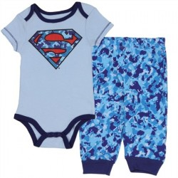 DC Comics Superman Sky Blue Logo Onesie With Blue Camo Pants