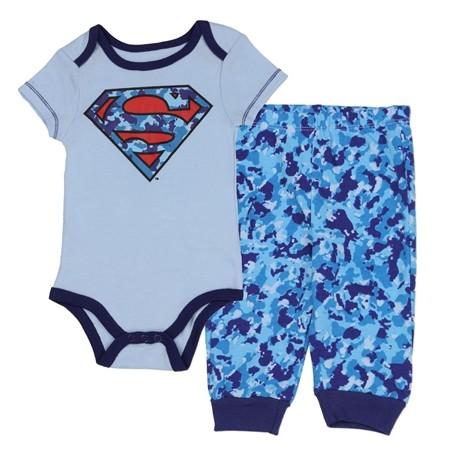 DC Comics Superman Blue Logo Onesie With Blue Camo Pants