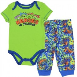 Nick Jr Teenage Mutant Ninja Turtles Heroes In Training Green Onesie With Blue Pants