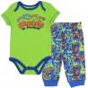 Nck Jr Teenage Mutant Ninja Turtles Heroes In Training Green Onesie With Blue Pants With Green And Orange Swirls