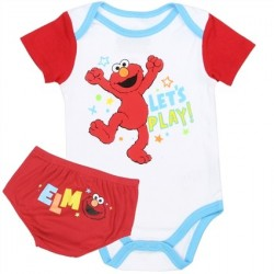 Sesame Street Elmo Let's Play White Onesie With Elmo Red Diaper Cover