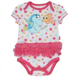Disney Pixar Finding Dory Nemo And Dory Swimming In Colorful Bubbles White Onesie