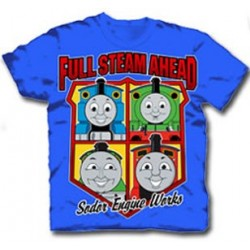 Full Steam Ahead Sodar Engine Works Blue Toddler Graphic T Shirt